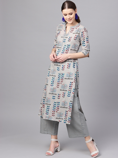 Libas Women Grey & Blue Printed Kurta with Palazzos