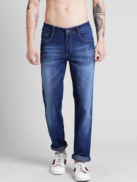 COBB Men Navy Blue Slim Fit Mid-Rise Low Distress Jeans