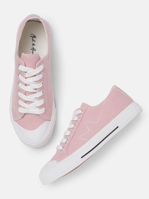 Mast & Harbour Women Pink Solid Sneakers
