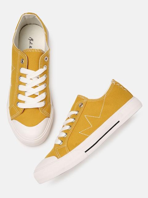 Mast & Harbour Women Mustard Sneakers