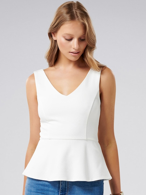 Forever New Women White Solid Peplum Top
