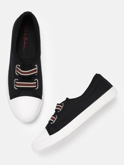 Mast & Harbour Women Black Slip-On Sneakers