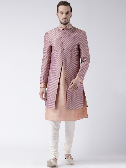 KISAH Men Peach-colored & Off-White Sherwani Set