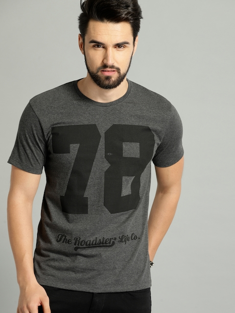Roadster Men Charcoal Grey & Black Printed Round Neck T-shirt