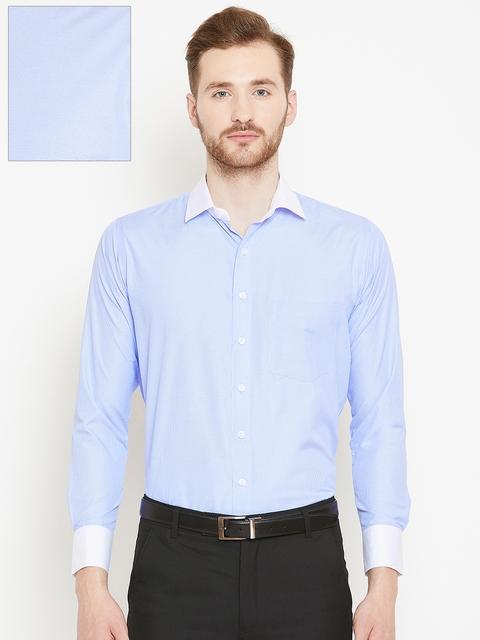 Shaftesbury London Men Blue & White Slim Fit Checked Formal Shirt