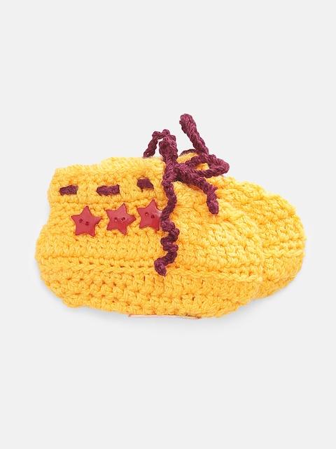 Magic Needles Boys Yellow Handmade Knit Crochet Woolen Booties