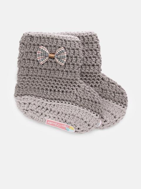 Magic Needles Girls Brown Handmade Knit Crochet Woolen Booties