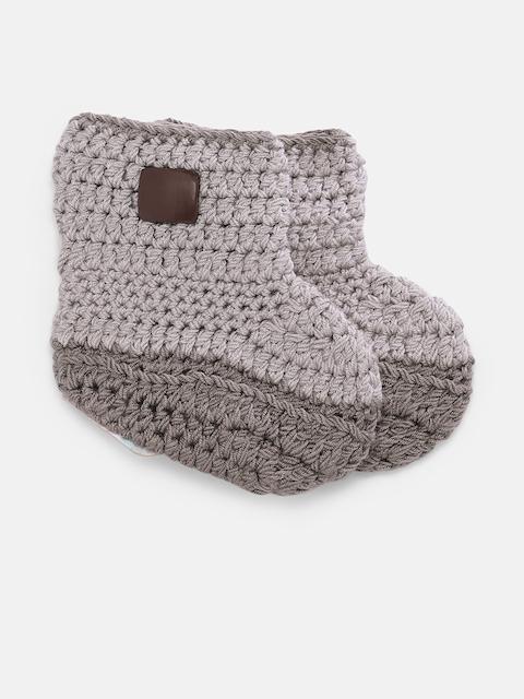 Magic Needles Boys Brown Handmade Knit Crochet Woolen Booties