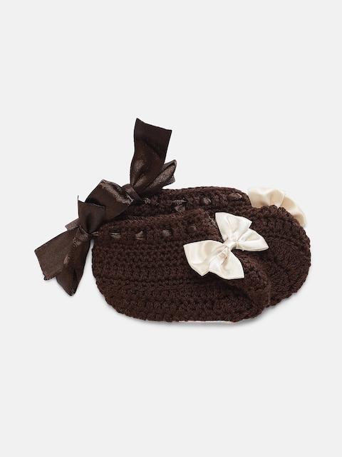 Magic Needles Girls Brown Handmade Knit Crochet Woolen Booties with Bow