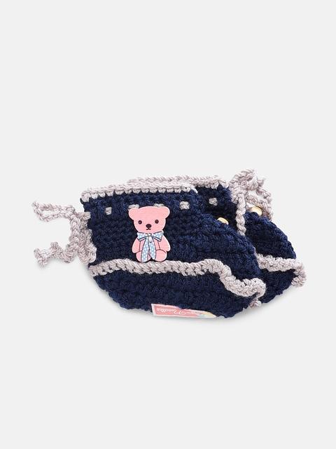 Magic Needles Boys Navy Blue Handmade Knit Crochet Woolen Booties