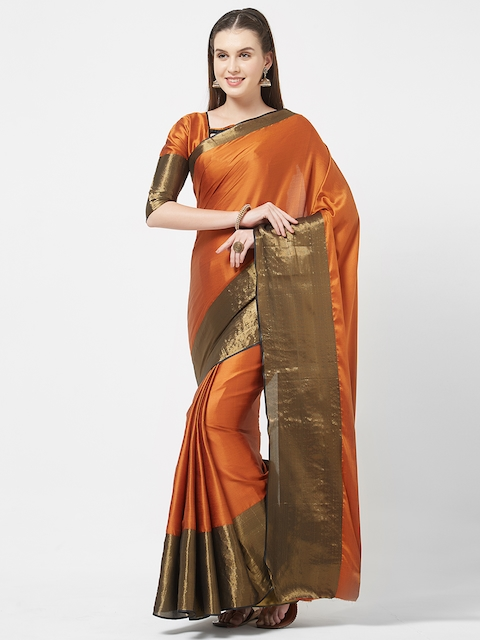 Rajesh Silk Mills Orange Embellished Silk Cotton Saree