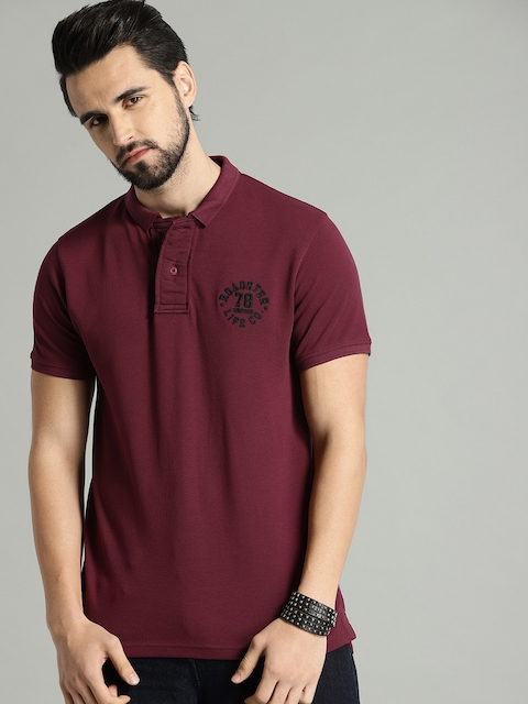 Roadster Men Maroon Solid Polo T-shirt