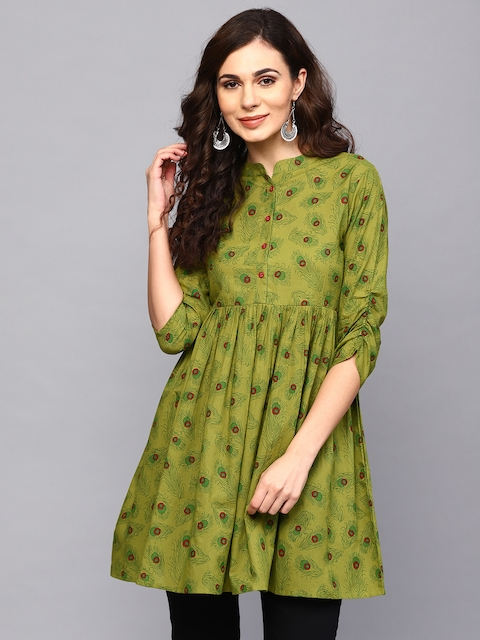 AKS Women Green Printed Tunic