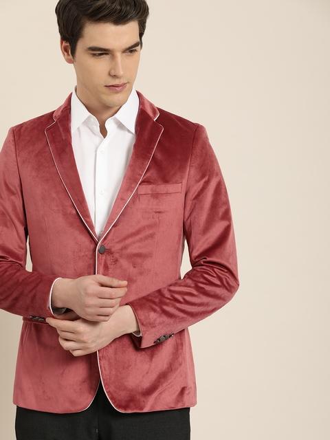 INVICTUS Men Peach Velvet Slim Fit Single-Breasted Blazer