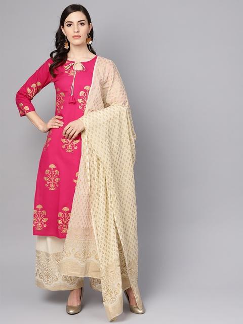 Nayo Women Pink & Cream-Coloured Printed Kurta with Palazzos & Dupatta