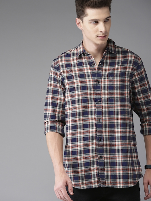 THE BEAR HOUSE Men Navy Blue & Rust Red Slim Fit Checked Casual Shirt