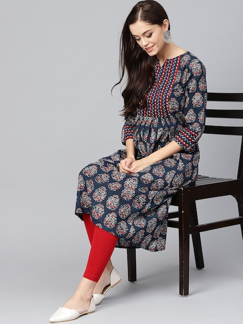 Indo Era Women Navy Blue & Off-White Printed A-Line Kurta