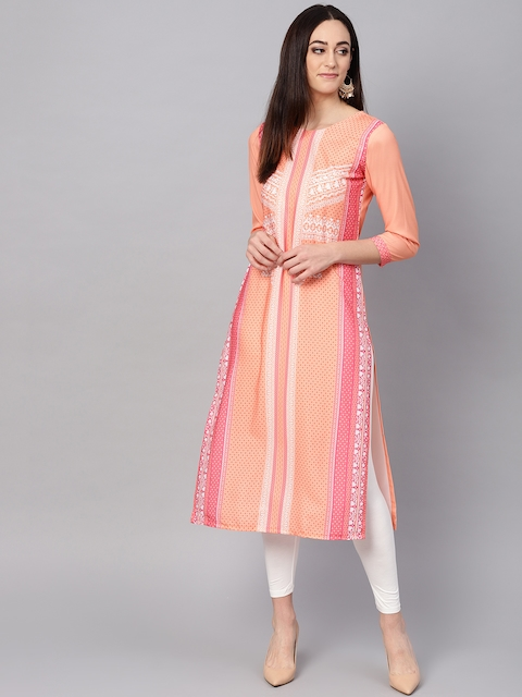 Vaamsi Women Orange & Pink Printed Straight Kurta
