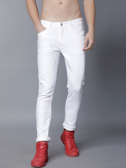 LOCOMOTIVE Men White Slim Fit Mid-Rise Clean Look Stretchable Jeans