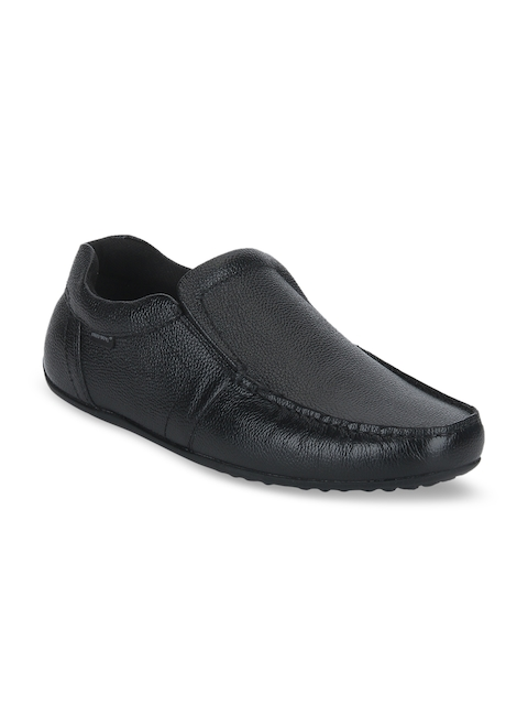 Red Tape Men Black Leather Formal Loafers