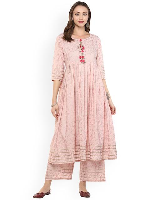 Idalia Women Pink Printed Kurta with Palazzos