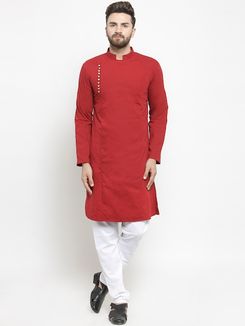 Purple State Men Maroon Solid Kurta