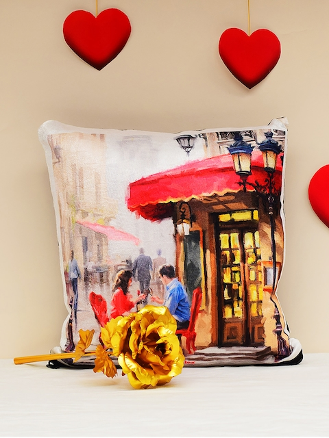 Archies Multicoloured Printed Cushions & 24K Golden Rose Valentines Day Gift Set