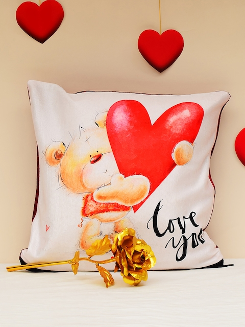Archies Set of 2 Valentines Day Special Printed Cushion & Golden Rose Gift Set