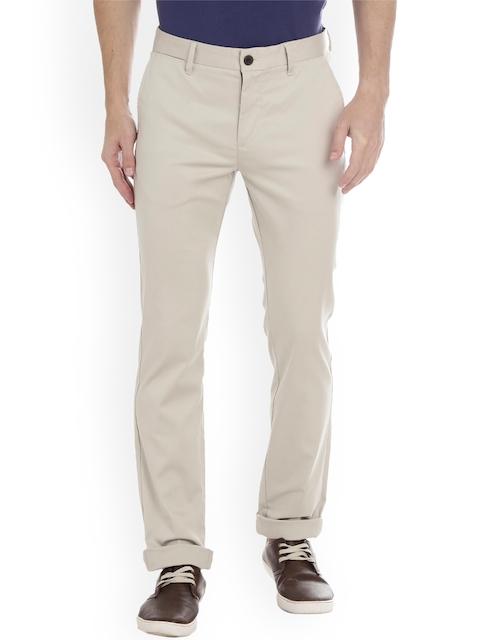 Bar Harbour Men Cream-Coloured Comfort Slim Fit Solid Regular Trousers