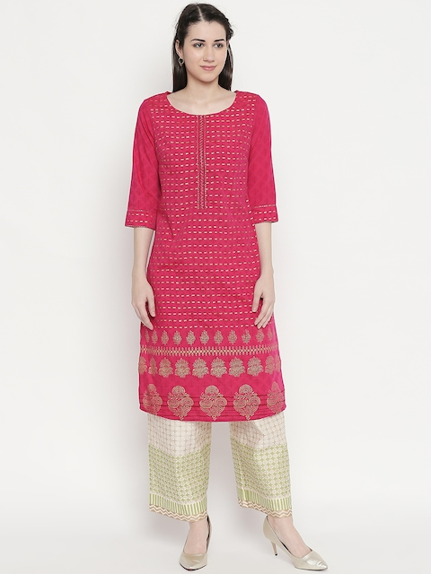 RANGMANCH BY PANTALOONS Women Pink & Gold-Toned Woven Design Straight Kurta