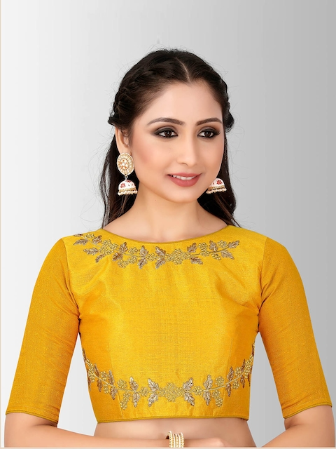 MIMOSA Women Mustard Embroidered Silk Saree Blouse