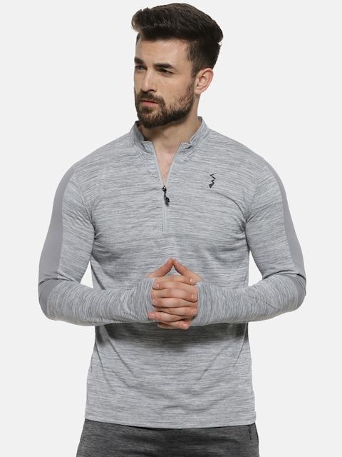 Campus Sutra Men Grey Solid Mandarin Collar T-shirt