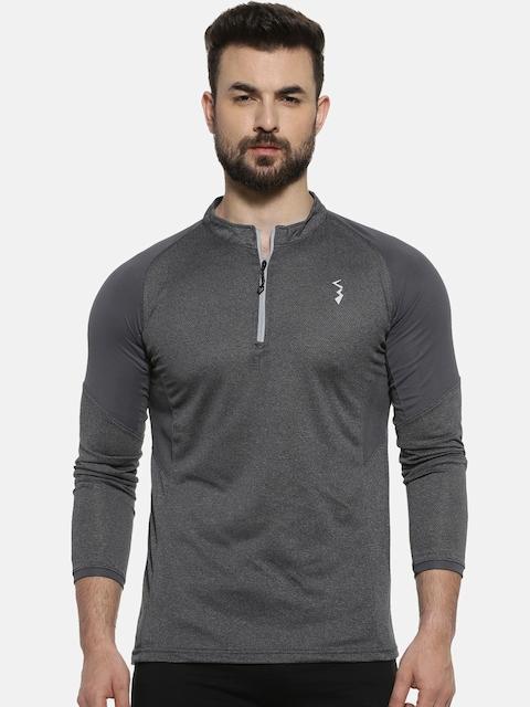 Campus Sutra Men Charcoal Grey Solid Mandarin Collar T-shirt