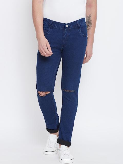 CHROME & CORAL Men Blue Regular Fit Mid-Rise Slash Knee Jeans