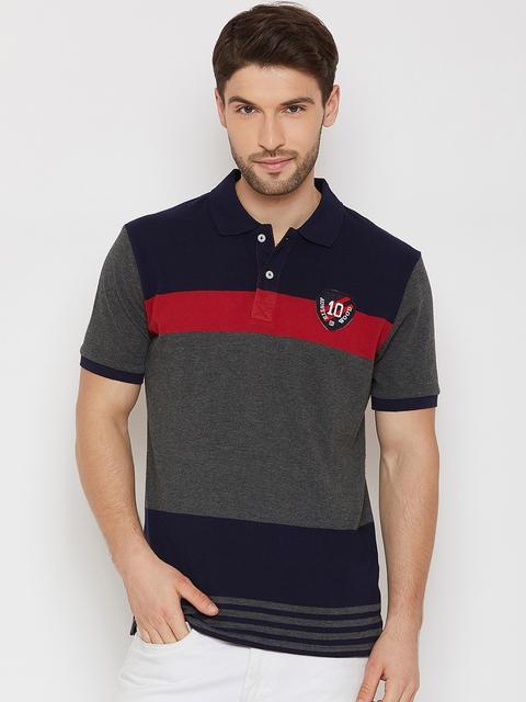 Austin wood Men Navy Blue & Grey Striped Polo Collar T-shirt
