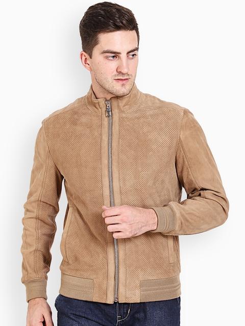 Justanned Men Beige Solid Padded Jacket