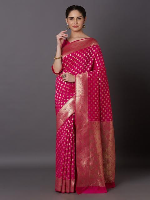 Mitera Pink & Gold-Toned Silk Blend Woven Design Kanjeevaram Saree