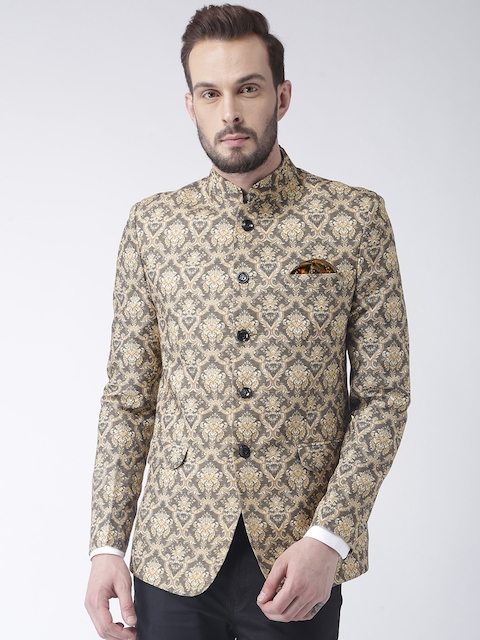 Hangup Men Grey & Yellow Printed Bandhgala Blazer