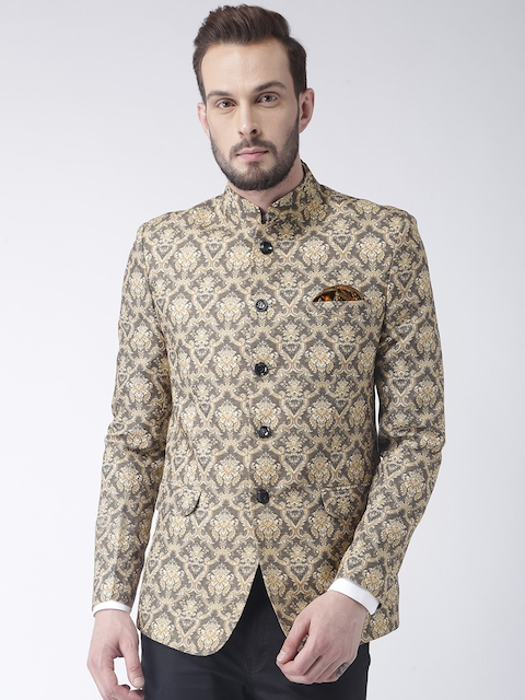 Hangup Men Beige Printed Regular-Fit Bandhgala Blazer