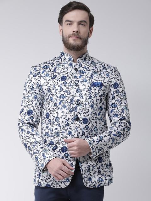 Hangup Men White & Blue Printed Regular Fit Single-Breasted Blazer