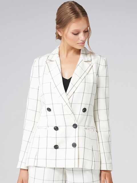 Forever New Women White Checked Lightweight Tailored Jacket