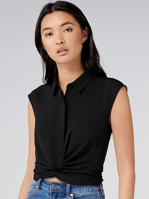 Forever New Women Black Solid Shirt Style Top