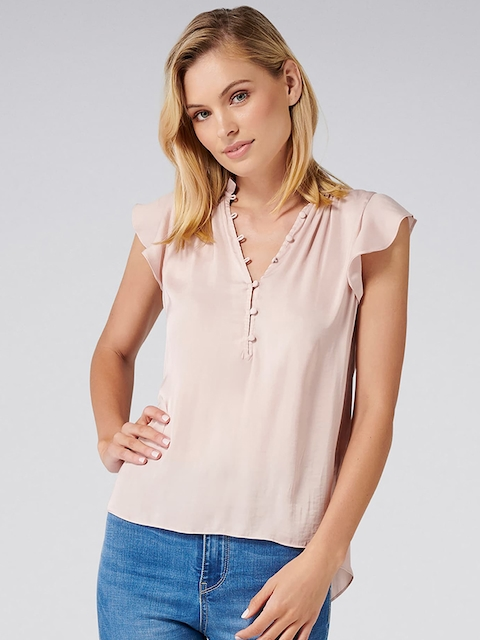 Forever New Women Pink Solid A-Line Top