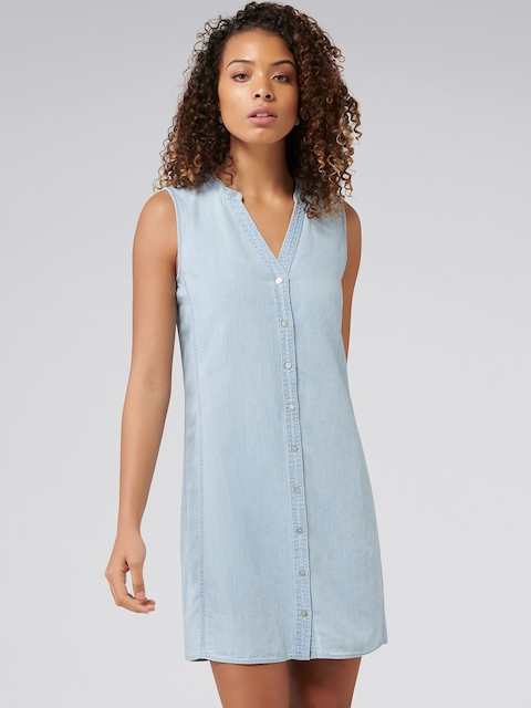 Forever New Women Blue Solid Chambray Shift Dress