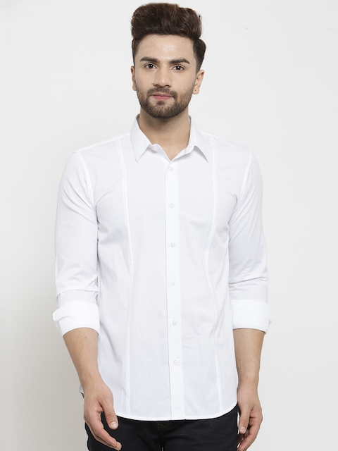 WESTCLO Men White Slim Fit Solid Casual Shirt