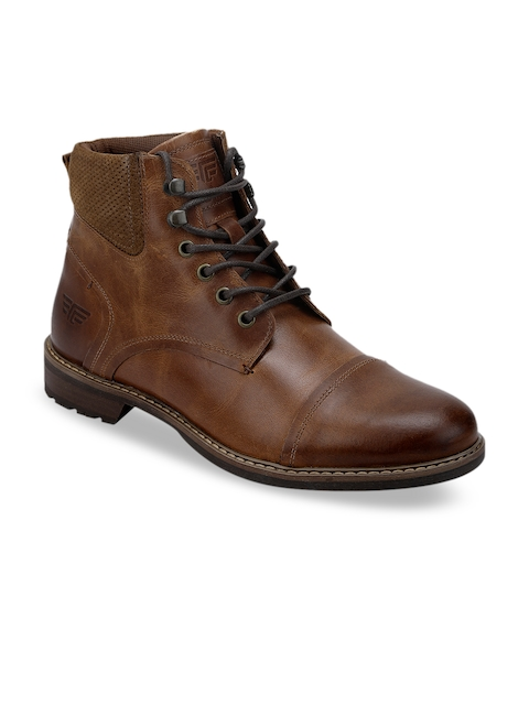 Red Tape Men Brown Solid Leather Mid-Top Flat Boots