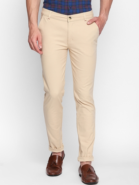 Solemio Men Beige Slim Fit Solid Regular Trousers