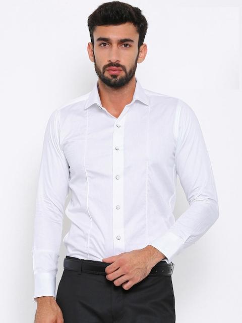 Shaftesbury London Men White Smart Slim Fit Solid Semiformal Shirt