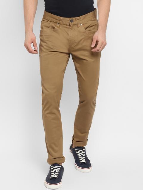 Red Tape Men Khaki Slim Fit Solid Regular Trousers