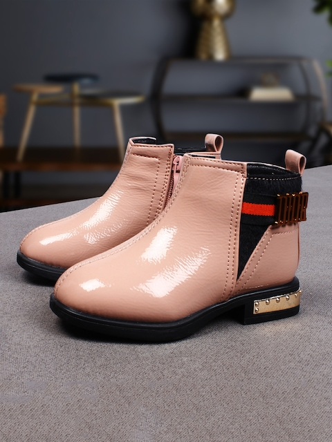 Walktrendy Boys Peach-Coloured Solid Synthetic Mid-Top Flat Boots